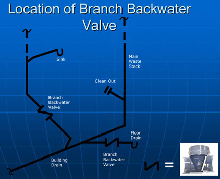 Branch backwatervalve location
